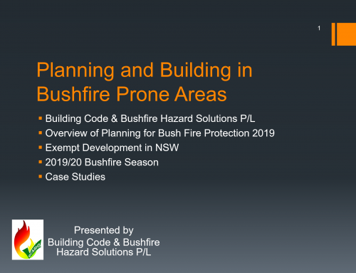 Bushfire Planning Legislation Presentation April 2020